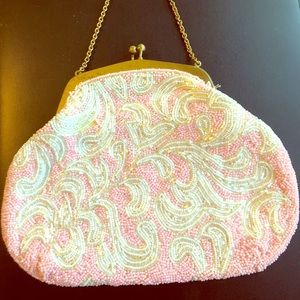 Vintage Pink and White Beaded Handbag